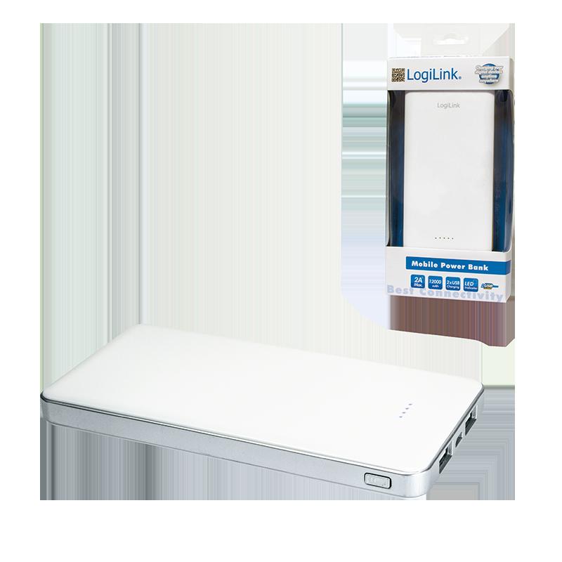 LogiLink :: Produkt Mobiler Zusatzakku, 12.000 mAh, 2x USB
